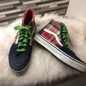 Vans red plaid high top. Size 10